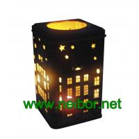 China Square shape cookie tin box with hollow cut and secondary use as metal candle holder on sale