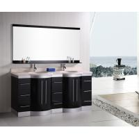 Artificial Stone Eased Edges Double Vanity Countertops And Sinks Black Color Manufactures