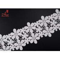Beautiful Flower White Embroidered Lace Trim For Wedding Dress Manufactures