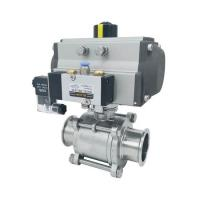 China Hygienic Pneumatic Actuator Tri-Clamped 3pcs body Sanitary ss304,ss316 Ball Valves on sale