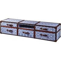 China Antique Porcelain Leather TV Stand Furniture 5 Drawers Vintage Blue And White Color on sale