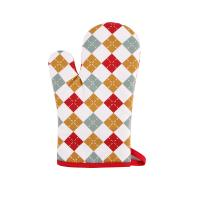 Hand Protective Cotton Oven Mitts , Christmas Pattern Printed Kitchen Mitts Gloves Manufactures