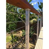 Cable infill Wire cable railing with wooden top handrail for balcony/ staircase Manufactures