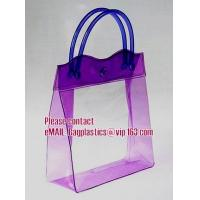 clear pvc packaging bag with handle for wine, vinyl pvc zipper gift tote bags with handles, gift bag with plastic snap Manufactures