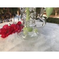 14.4mm Female Joint Recycler Glass Water Pipe , Green Beaker Smoking Pipe Manufactures