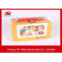 Custom Artwork Printing Cookie Gift Tins With Plastic Handle , Full Color Tin Lunch Box Manufactures
