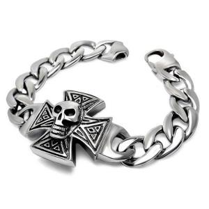 Gothic Skull Cross Stainless Steel Id Bracelet for Men Vintage Old Metal Finishing (JCE456) Manufactures