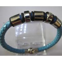 Fashion Jewellery Blue Leather Bracelet with Stainless Steel Accessories Manufactures