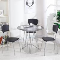 Tempered Glass Top Center Coffee Table Round Shape With Three Chairs Manufactures
