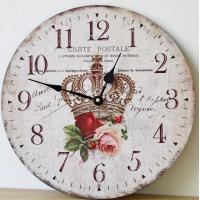 China Crown Rose Flower Customizable Wood Craft Silent Wall Clock MDF Shabby Cottage DIY Decorative Luxury Clock on sale