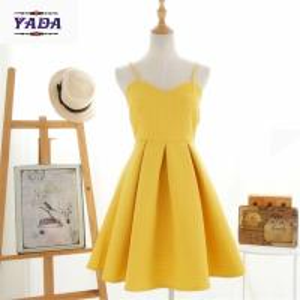 China Korean style summer yellow spaghetti strap short umbrella ladies elegant dress cotton women dresses in cheap price on sale