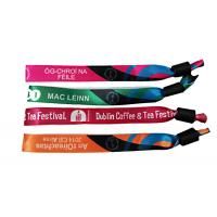 Printed Logo Woven Cloth Wristbands 15mm*350mm Size Outstanding Durability Manufactures