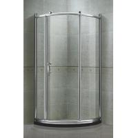 Chromed Aluminum Round Shower Screens Tempered Glass With Big Brass Wheel Manufactures