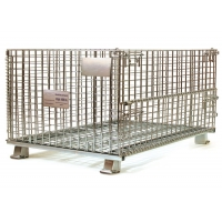 China European stackable collapsible galvanized steel wire mesh cage metal storage container for wine bottle industry on sale