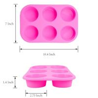Quality 2 Pack Silicone round Muffin Pan, 6 Cup Baking Tin Non-Stick Bakeware mold for Cupcakes Puddings for sale