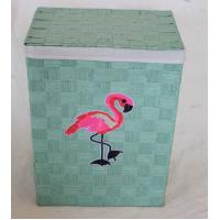 Flamingo design laundry basket with paper material, reseda color, rectangle shape Manufactures