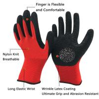 China 13 Gauge Knitted Polyester Liner Coated Crinkle Latex Safety Gloves for Construction on sale