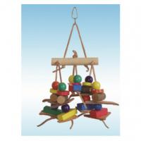 natural wooden bird toys 12 inches single-log bridge swing for cockatiel Manufactures