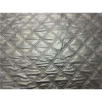 Wadded Clothes 1.2mm Quilted Bonded Leather Fabric With Polyester Cotton Surface Silver Color Manufactures