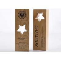 Wooden Custom Trophy Cup Engraving / Lasing Logo Star Design Awards For Staff Manufactures