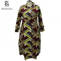Wax Printed African Ladies Jackets And Coats With Belt Pockets Long Sleeve Manufactures