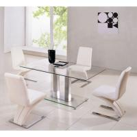 China clear tempered glass dining table and chairs xydt-045 on sale