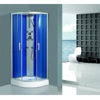 Framed Clear Corner Glass Shower Enclosure Sandblasted Blue Back Aluminum Panel Manufactures