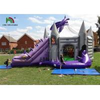 Purple / Grey Inflatable Jumping Castle With Dragon Slide Roofed Playground Manufactures