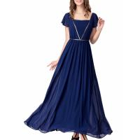 Elegant Chiffon U Neck Womens Summer Maxi Dresses Royal Blue Flare Sleeves Big Sweep Manufactures