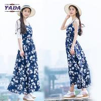 Summer beach floral spaghetti straps maxi latest party designs 100% cotton white dress with good quality Manufactures