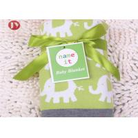 China Cartoon Elephant Warm Baby Blanket Knitted Baby Swaddle Gift Box Package for sale
