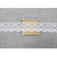 White Embroidered Lace Trim For Smocked Dress / Lace Ribbon Embroidery Fabric Manufactures