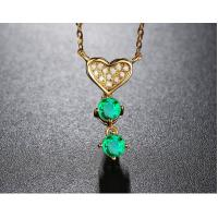 Buy cheap Lover Pendant Necklace Emerald Gemstone Jewelry 18K Gold Chain Adjustable from wholesalers