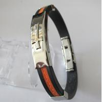 Hot Selling Stainless Steel Rubber Bracelets with Cross Design Manufactures