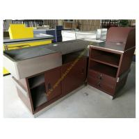 Stainless Steel Supermarket Checkout Counter / Store Non Electric Cashier Desk Manufactures