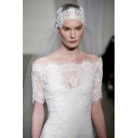 Romantic Lace Off the Shoulder See Through Wedding Dresses with Short Sleeve , court train Manufactures