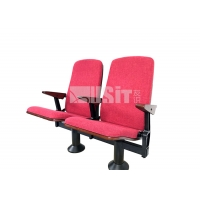 China Auditorium Folding Chair Fabric Chaise Cinema Audience Chair With Single Steel Leg on sale