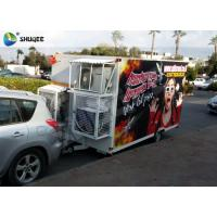 Trailer Mobile 5D Cinema Black / Red Luxury Chair with Complete Special Effect Machine Manufactures