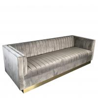 2018 new design gold metal base couch luxury fabric living room sofa ,3-seater velvet fabric sofa for sale Manufactures