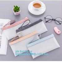 clear vinyl TPU pencil case bag with zipper for boys girls, Creative contracted envelope bag translucent frosted pencil Manufactures