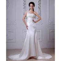 Lace Flower Satin One Shoulder Wedding Gowns with Long Train for Girls Manufactures