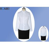 Office Uniform Shirts For Women , Perfect Long Sleeve White Shirt With Collar Manufactures