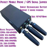 China 3 Antenna Mini Mobile Phone Signal Jammer 3G/GSM/CDMA/DCS/PHS GPS Blocker Inbuilt Battery on sale
