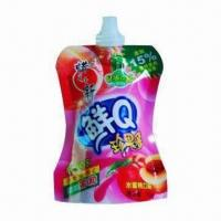 Spout Pouch with Printing and Lamination, Nozzle for Jelly Drink, Customized Shapes Welcomed Manufactures