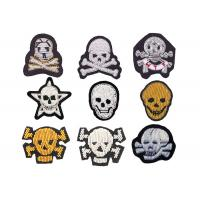 indian silk Colorful beads big bone skull embroidery patch handmade gold line sign stickers Manufactures