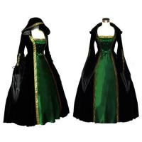 Medieval Dress Wholesale Long Sleeve ROCOCO Ball Grown Gothic Medieval Victorian in Green and Black by Satin and Velvet Manufactures