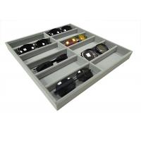 Soft Velvet Gray 12  Grids Of Eyeglasses And Sunglasses Display Tray Case Manufactures