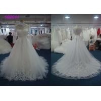 China Boat Neckline Pearls A Line Dress Wedding Dress , Lace Vintage A Line Wedding Dresses on sale