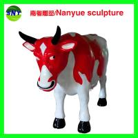 China customize size fiberglass animal  statue colorful cow model as decoration statue in garden /square / shop/ mall wholesale