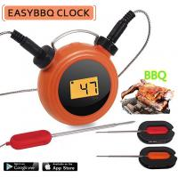 Smart  wireless Heat Resistance Bluetooth Dual Probe BBQ Meat Thermometer with clock Manufactures